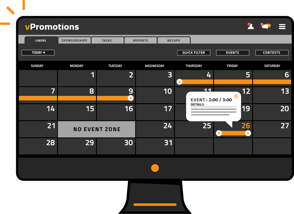 vCreative - vPromotions - Calendar Dashboard